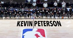 NBA honors only remaining guy watching by painting his name on court